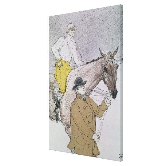 The jockey led to the start canvas print