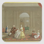The John Bacon Family, c.1742-43 (oil on canvas) Square Sticker