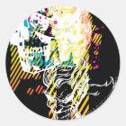 The Joker Neon Montage Classic Round Sticker