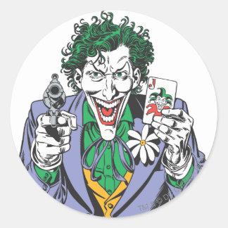 The Joker Points Gun Classic Round Sticker