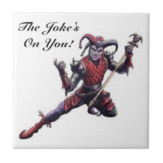 The Joke's On You Evil Jester Spirit and Staff Ceramic Tile