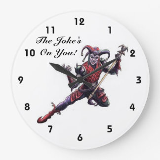 The Joke's On You Evil Jester Spirit and Staff Large Clock