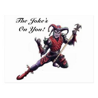 The Joke's On You Evil Jester Spirit and Staff Postcard