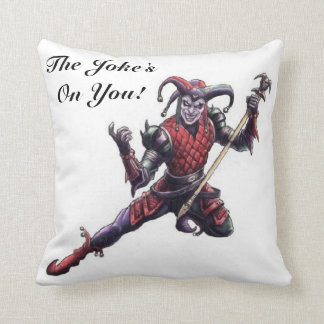The Joke's On You Evil Jester Spirit and Staff Throw Pillow