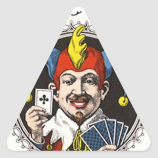 The jolly joker playing card graphic triangle sticker
