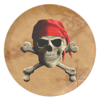 The Jolly Roger Pirate Map Dinner Plate