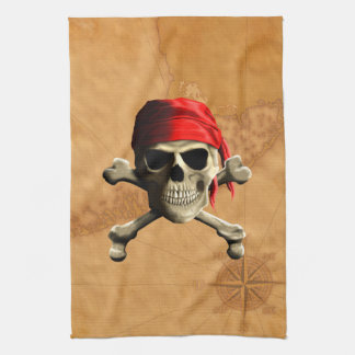 The Jolly Roger Pirate Map Hand Towel