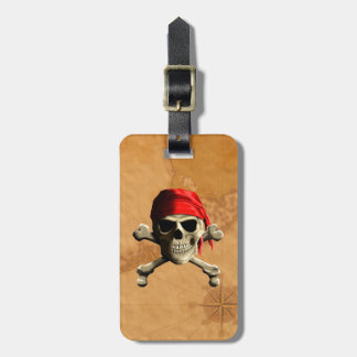 The Jolly Roger Pirate Map Travel Bag Tags