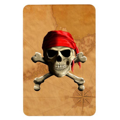The Jolly Roger Pirate Map Magnet