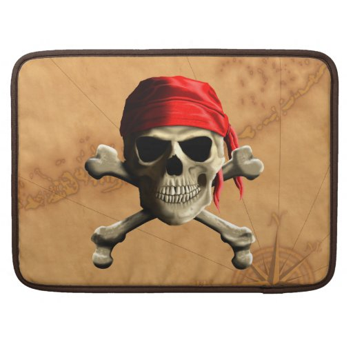 The Jolly Roger Pirate Map Sleeves For MacBook Pro