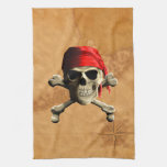 The Jolly Roger Pirate Map Towel