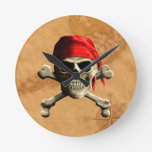 The Jolly Roger Pirate Map Wall Clocks