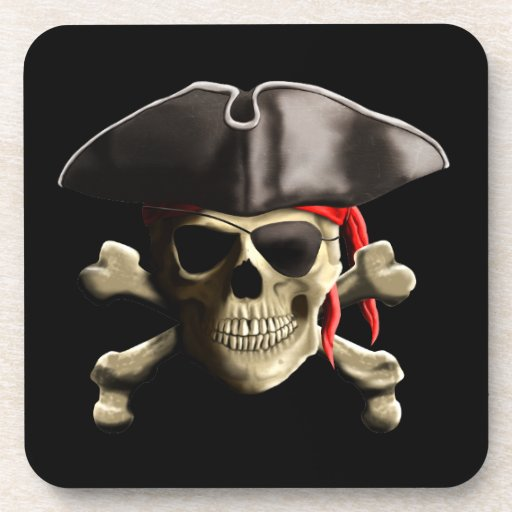 The Jolly Roger Pirate Skull Beverage Coaster