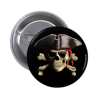 The Jolly Roger Pirate Skull 2 Inch Round Button