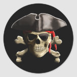 The Jolly Roger Pirate Skull Classic Round Sticker at Zazzle