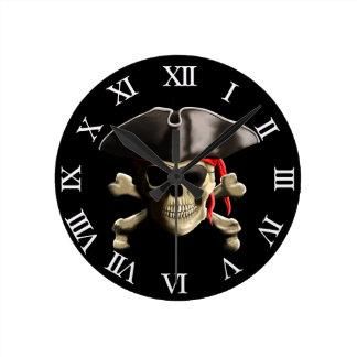 The Jolly Roger Pirate Skull Round Wallclock