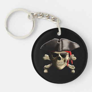 The Jolly Roger Pirate Skull Double-Sided Round Acrylic Keychain