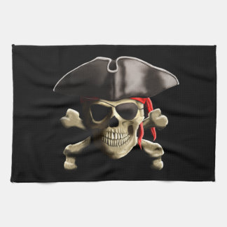 The Jolly Roger Pirate Skull Kitchen Towel