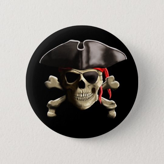 The Jolly Roger Pirate Skull Pinback Button