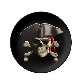 The Jolly Roger Pirate Skull Porcelain Plates