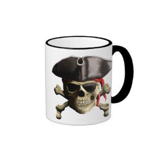 The Jolly Roger Pirate Skull Ringer Coffee Mug