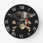The Jolly Roger Pirate Skull Round Clock