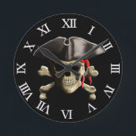 """The Jolly Roger Pirate Skull Round Clock<br><div class=""""desc"""">Original classic Skull and Crossbones,  The Jolly Rodger"""",  with red bandana doo rag and pirate hat.</div>"""