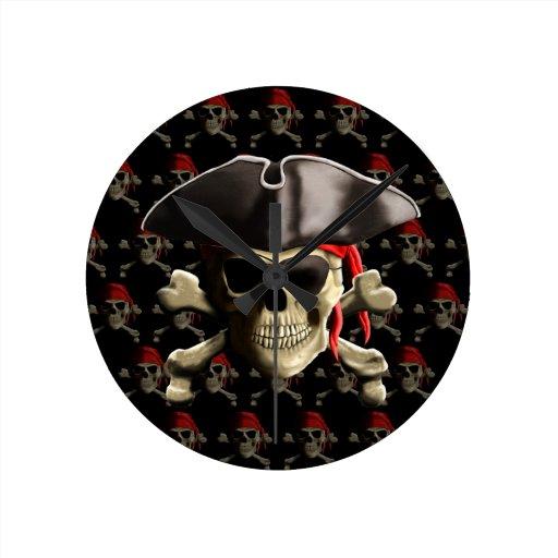 The Jolly Roger Pirate Skull Round Wall Clocks