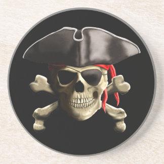 The Jolly Roger Pirate Skull Sandstone Coaster