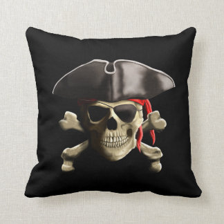 The Jolly Roger Pirate Skull Throw Pillow