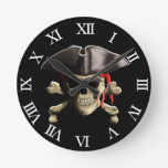 The Jolly Roger Pirate Skull Wall Clocks