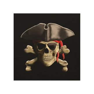 The Jolly Roger Pirate Skull Wood Wall Art