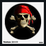 """The Jolly Roger Wall Sticker<br><div class=""""desc"""">Original classic Skull and Crossbones,  The Jolly Rodger"""",  with red bandana doo rag.</div>"""