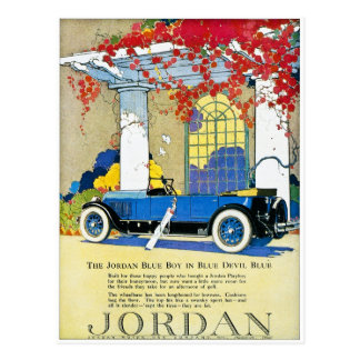 The Jordan Blue Boy Vintage Classic Car Postcard