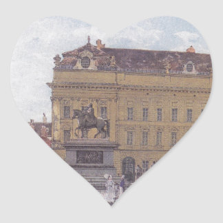 The Josef square in Vienna by Rudolf von Alt Heart Sticker
