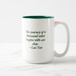 The journey of a thousand miles Two-Tone coffee mug