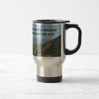 The journey of a thousand step travel mug