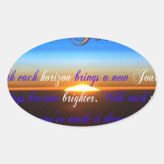 The Journey Sunset Oval Sticker