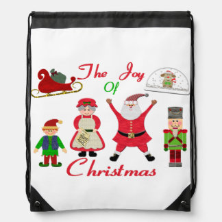 The Joy Of Christmas Collage Drawstring Backpack