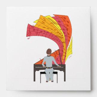 The joy of playing piano illustration (black) envelope