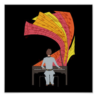 The joy of playing piano illustration (black) poster