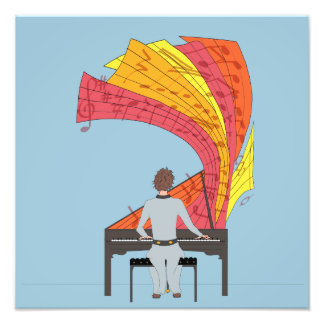 The joy of playing piano photo print