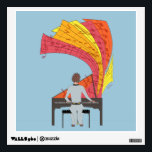 """The joy of playing piano wall sticker<br><div class=""""desc"""">If you&#39;re a pianist, or know someone who loves to play piano, this illustration is the perfect gift. It was created with the piano lover in mind, and features a passionate pianist playing away on his instrument. From the piano, various colorful shapes emerge, banners of sheet music floating up from...</div>"""