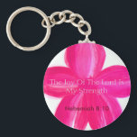 "The Joy of the Lord is My Strength keychain<br><div class=""desc"">Inspirational Bible verse keychain with a pink flower. This keychain was made from one of my original watercolor flower paintings.</div>"