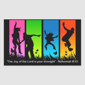 The Joy of the Lord is your strength Nehemiah 8:10 Rectangular Sticker