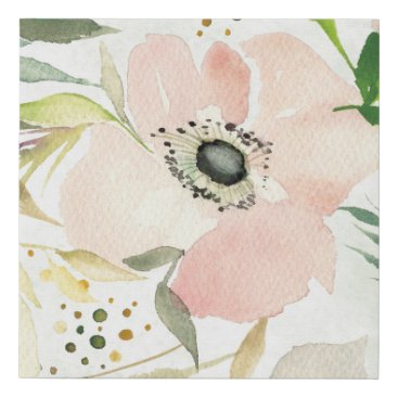 Art Themed The Joy of White | Watercolor Floral Pattern Faux Canvas Print