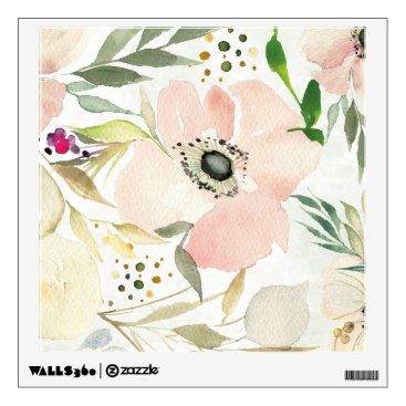 Art Themed The Joy of White | Watercolor Floral Pattern Wall Sticker