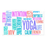 The Joy of Yoga Elegant Pastel Colored Word Cloud Business Card Template