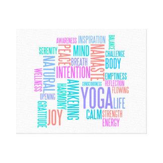 The Joy of Yoga Elegant Pastel Colored Word Cloud Canvas Print