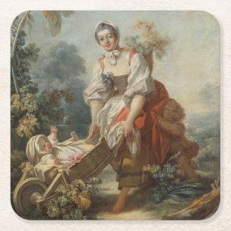 The Joys of Motherhood by Fragonard Square Paper Coaster